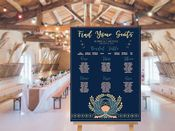 Wedding Table Plan  Planner Art Deco -  Extra Large  Metal Wall Sign